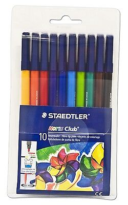 Staedtler Noris Club Fibre Tip Pens -  Wallet Of 10 Assorted Colours