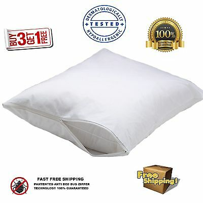 4 NEW WHITE BED BUG ZIPPERED PILLOW PROTECTORS PILLOW COVERS 20x30 QUEEN SIZE