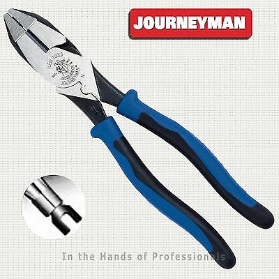 "KLEIN J2000-9NECR Journeyman™ 9"" High-Leverage Side Cutting Crimping Pliers  NEW"
