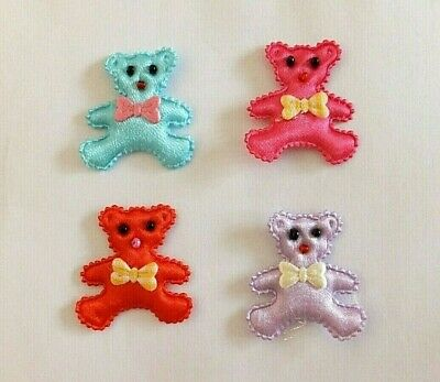 5 x Teddy Bear sew-on fabric motif appliques embellishment choice of colours