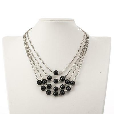 """Gorgeous 18"""" long silver tone & black bead layered style chain necklace"""