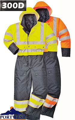 HI VIS Waterproof Contrast Coverall Lined Hooded Boilersuit Safety Workwear S485