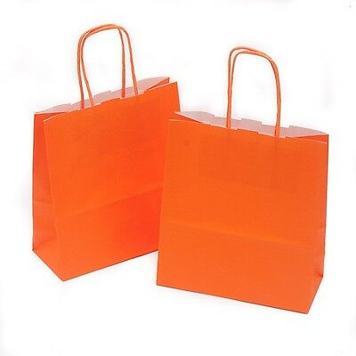 50 x Orange Gift Paper Bags with Twisted Handle - 18cm x 22cm x 8cm (SMALL)