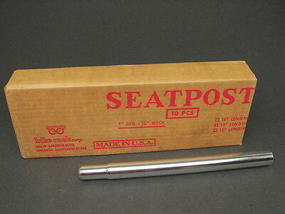 "Vintage NOS Bicycle Steel Seat Post 1"" Dia. 7/8"" Neck Chrome 12"" Overall"