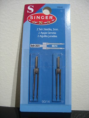All metal Sewing machine Singer 3mm Twin needles 1 pack #2025 90/14 no plastic