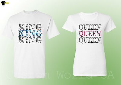 His and Hers Couple Shirts Queen and King Matching Tees Love New Design (White)