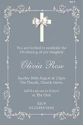 40 Personalised Boy / Girl Christening / Baptism / Naming Day Invitations 2015