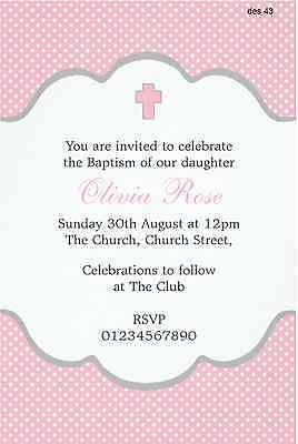 PERSONALISED CHRISTENING BAPTISM Naming Ceremony invitations girl