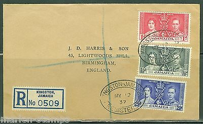 Jamaica Coronation Of King George Vi Registerd First Day Cover To England