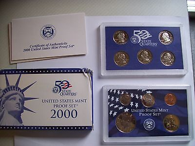 2000 US Mint Proof 10 Coin Set with box and COA state quarters