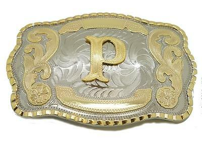 Initial Letter P Western Extra Large Rodeo Cowboy Belt Buckle