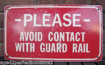Original GO-KART TRACK Avoid Contact Guard Rail Sign retired Pa Amusement Park