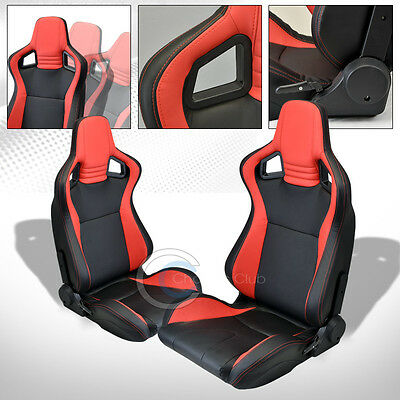 2X UNIVERSAL MU BLACK/RED PVC LEATHER w/STITCHES RACING BUCKET SEATS+SLIDERS C12