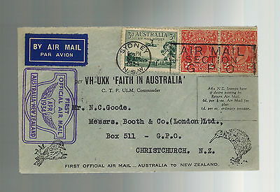 1934 FAith in Australia to New Zealand FFC First Flight Cover