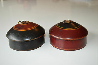 A Pair Of Beautiful Antique Round Wooden Spice Box Apothecary Canister Pot Sp18