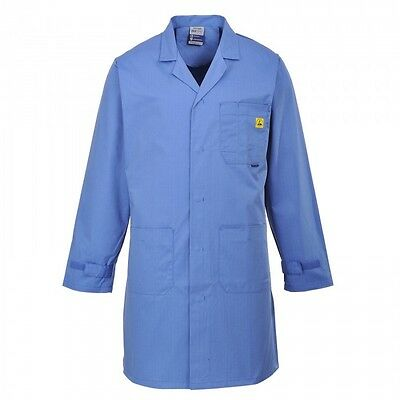 Portwest AS10 Anti-Static ESD Lab Coat- Hospital Blue  Sizes S to XXL