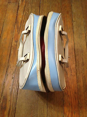 Vintage Bowling Bag Baby Blue and White