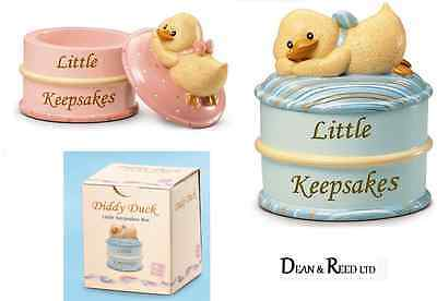 Russ Berrie Baby Diddy Duck Keepsake Boxes Blue Or Pink Christening Gift
