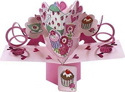 Second Nature 3D Pop Up Tea Cups And Teapot Birthday Card New Gift