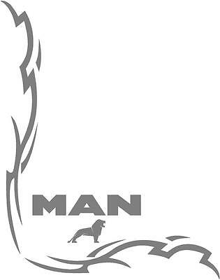 MAN Truck Tribal style cab side window stickers (pair) wording and lions