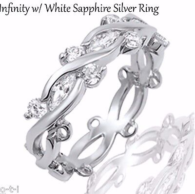 White Gold Brilliant Marquise Infinity Sapphire CZ Nature Wreath Silver Ring