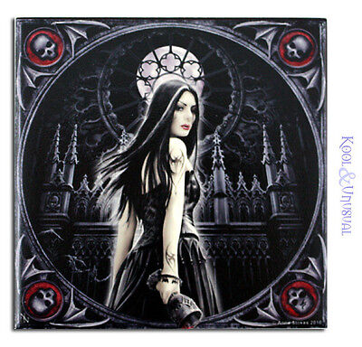 "Anne Stokes Small Art Tile: ""Gothic Siren"" Goth Temptress with Cathedral"