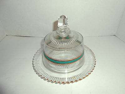 Vintage 2 PIECE BUTTER DISH GREEN & GOLD VERY GOOD COND.