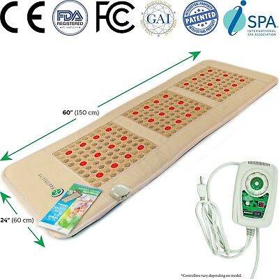 Jade & Tourmaline with Photon Negative Ions FIR InfraRed Heating Pad Mat PEMF