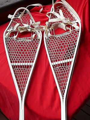 Vintage US ARMY Pair Cross Country HEAVY DUTY ALUMINUM SNOWSHOES w BINDINGS