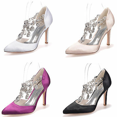 Crystal Gorgeous Bridal Wedding Heel Shoes Evening Party Pointed Toe Women Shoes