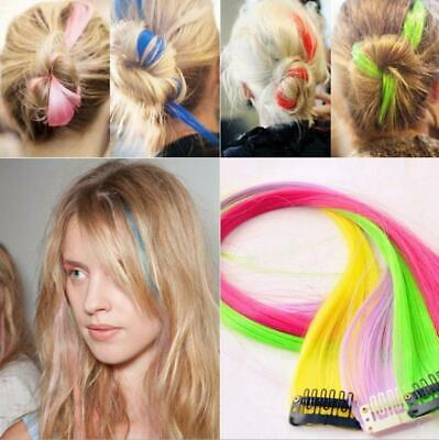 "New Funky Colourful Streak 22"" Clip in Hair Extensions Range colors party Lot"