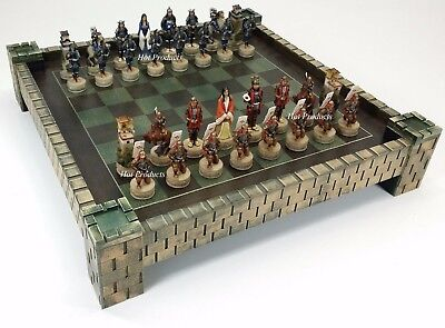 "JAPANESE SAMURAI WARRIOR Oriental  Chess Set W/ 17"" CASTLE FORTRESS Board"