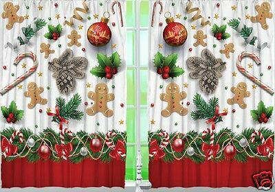 Gingerbread Man Kitchen CURTAIN Panel Set Christmas Candy Cane Holly Home Decor