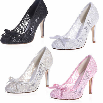 New Lace White Ivory Wedding Stiletto Heels Prom Formal Evening Women High Shoes