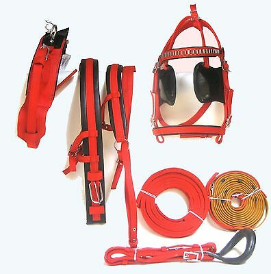 Horse Nylon Popular Driving Harness In Red Color In Full, Cob, Pony, Shetland