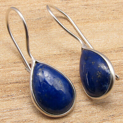 925 Sterling Silver Plated Real LAPIS LAZULI & Other Gemstone Variation Earrings