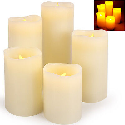 5 Pcs. Real Wax Candles Set Led Light Advent Candle Flameless Flickering Decor