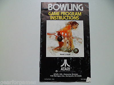 Atari Pal Game Bowling Manual Instruction Booklet