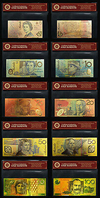 24KT Gold Coloured Australian Bank Note Limited Edition Set Rare Banknote