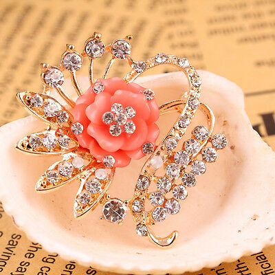 Charms Brooch Pin Gold Plated Orange Flower Crystal Wedding Bridal
