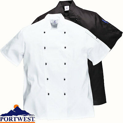 Chefs Jacket short sleeved Restaurant & Catering Kent black white Coat Size C734