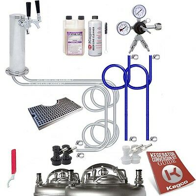 Ultimate Tower 2 Tap Home Brew Kegerator Kit - Ball Lock - No Tank