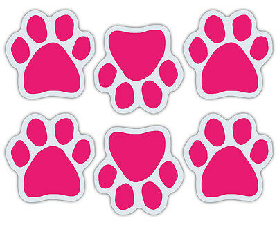 Mini Dog Paw Magnets (Set of 6) - Pink - Decorate Your Car, Refrigerator, More