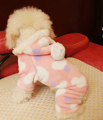 New Fleece Pet Puppy Dog Cat Clothes Hoodie Coat Jumpsuit Costume Apparel