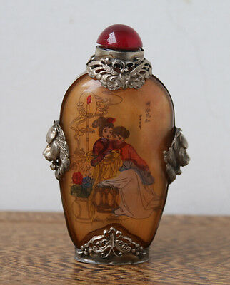 Old Chinese Glass Inside Sketch Character Lion's Head Armored Snuff Bottle