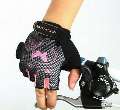 Women Bike Bicycle Cycling Professional Half Finger Gloves Shockproof Pink S-XL