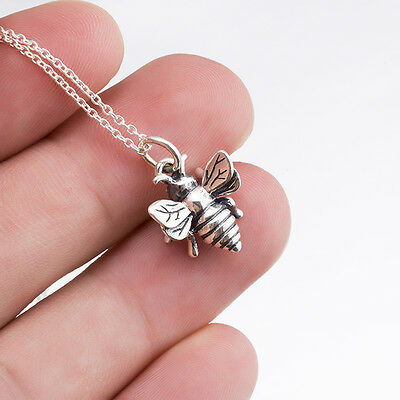 925 Sterling Silver Lovely Honey Bee Pendant Queen Bee Bumblebee Necklace 18""