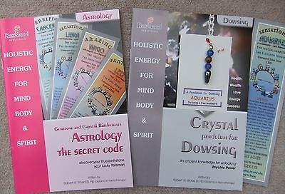 AQUARIUS - Handmade birthstone dowsing pendulum plus  2 great books & a bookmark