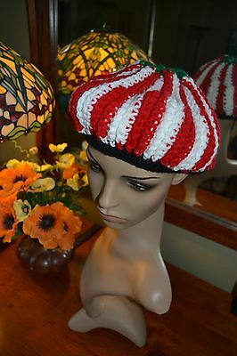"vtg 60s CANDY CANE swirl red white CROCHETED BERET 22-23"" tacky Christmas ugly"