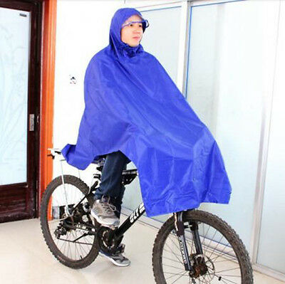 New Cycling Bicycle Bike Raincoat Rain Cape Poncho Cloth Gear Rainproof Blue